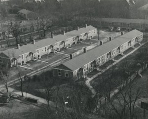Located along Capers and 19th avenues, Veterans Village housed more than 300 people—veterans and their families who came to Peabody for education on the G.I. Bill after World War II. The 50 prefabricated apartments and 18 single efficiency apartments were moved from a military base in Georgia and also contained a grocery, laundry and nursery school. Source: Peabody College: From a Frontier Academy to the Frontiers of Teaching and Learning by Paul Conkin