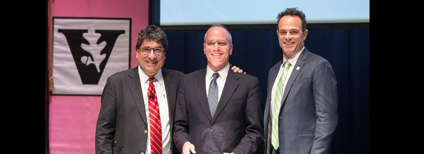 "Alan Wiseman (center) received the Joe B. Wyatt Distinguished University Professor Award recognizing his ""innovative and impactful work"""