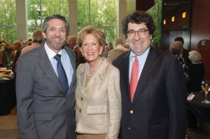 Longtime patron of the Blair School and for 16 years chairman of Blair's KeyBoard, Martha Rivers Ingram was  honored with a concert celebrating her affiliation with Blair in September at Ingram Hall. Pictured are Mrs. Ingram with Dean Mark Wait (left) and Chancellor Nicholas S. Zeppos at the reception following the concert.