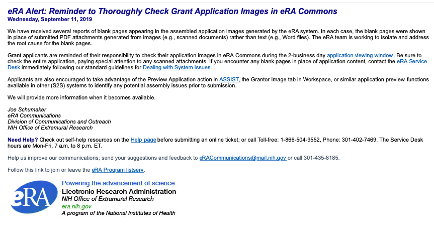 eRA Alert: Reminder to Thoroughly Check Grant Application Images in eRA Commons