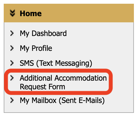 additional accommodation request form link highlighted in screenshot