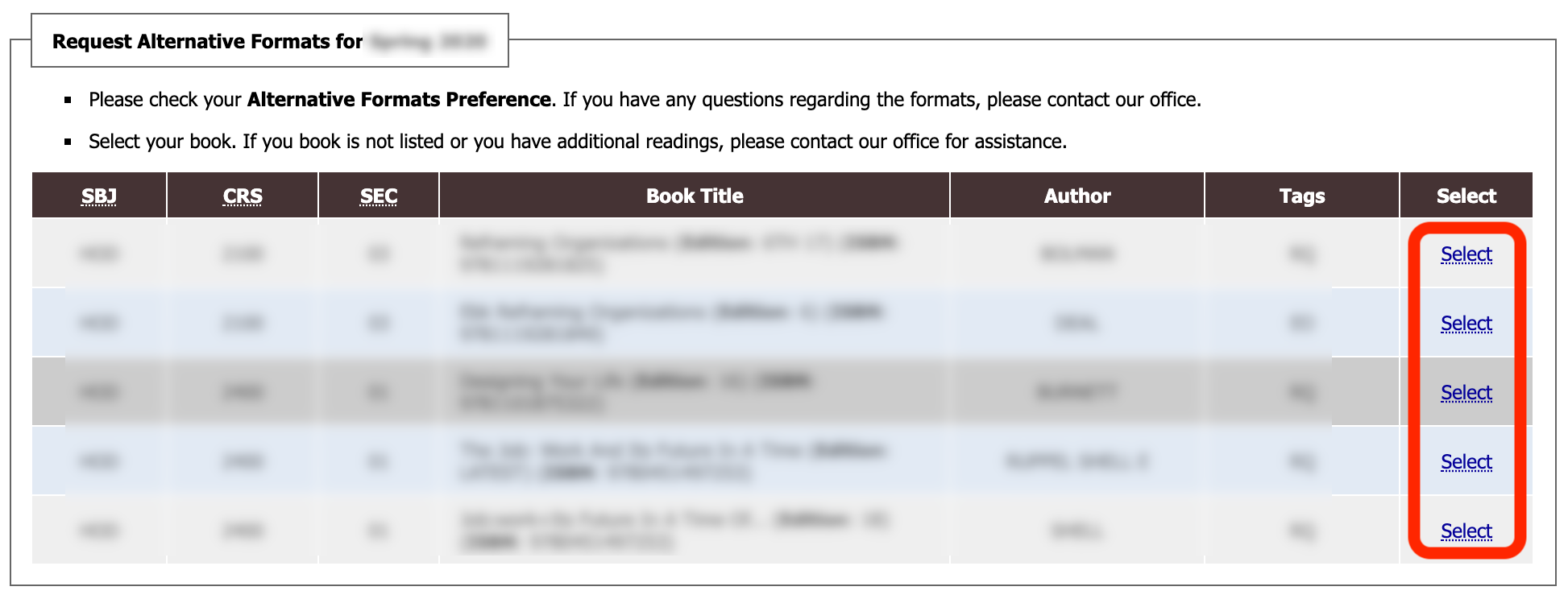 request alternative formats for spring 2020 box in commodore access portal with a select link for each book