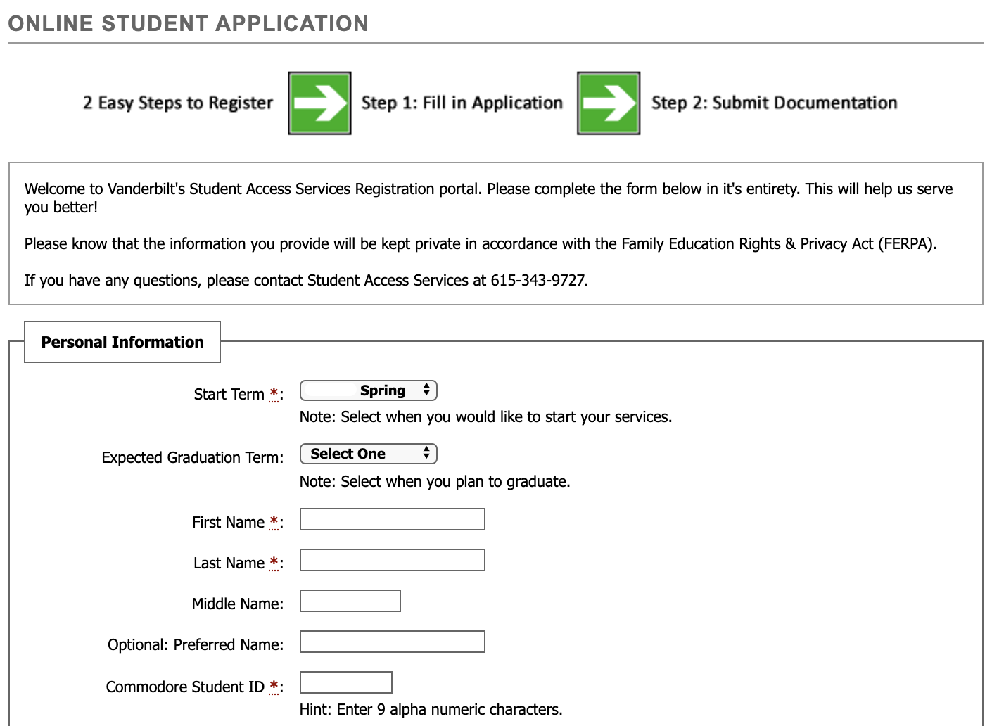 first page of student application