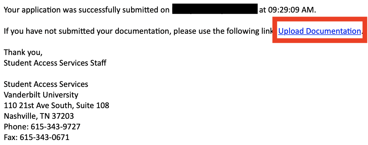 Email after application with link to upload documentation