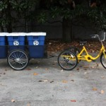 A tricycle recycling collection system is used to capture recyclables generated during the tailgate. (Bill Randles/Vanderbilt University)
