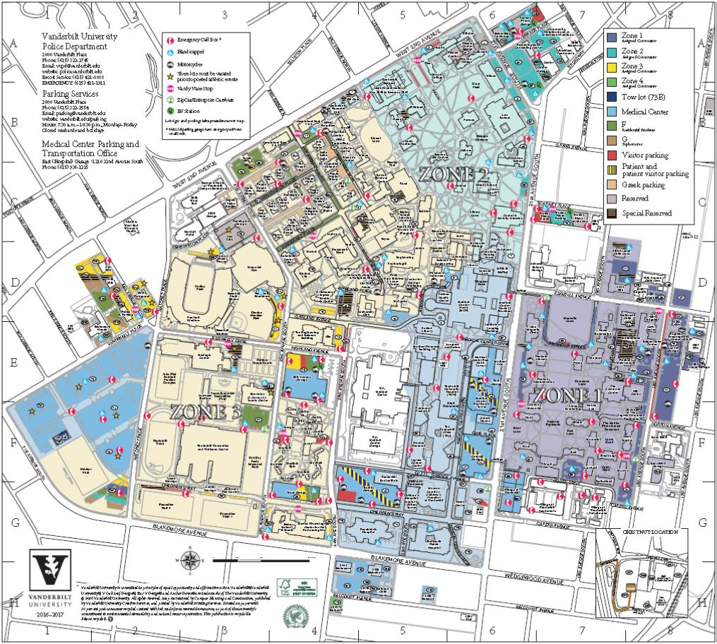 Parking Maps Maps Parking Services Vanderbilt University - U of a campus map