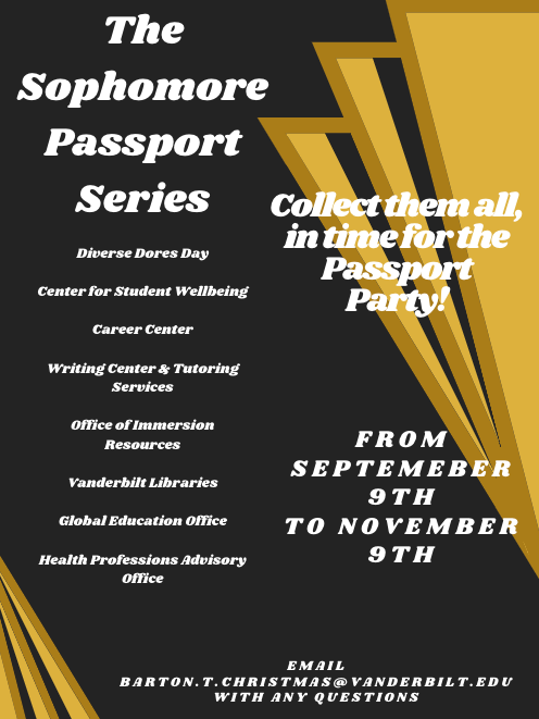 An information flyer promoting the Sophomore Passport Series and listing the participating offices