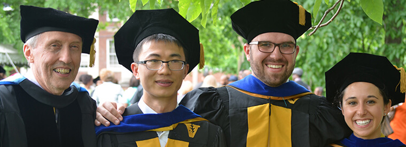 VIEE is involved in education as well as research.  VIEE Director George Hornberger (far left) is pictured here with PhD graduates Yi Mei, John Jacobi and Debra Perrone.