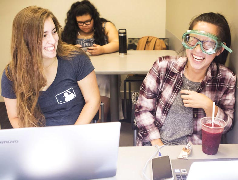 Students laughing in class