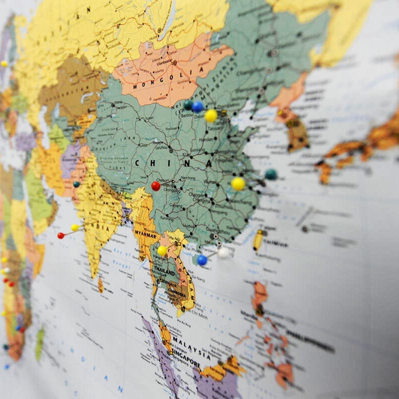 Map of globe