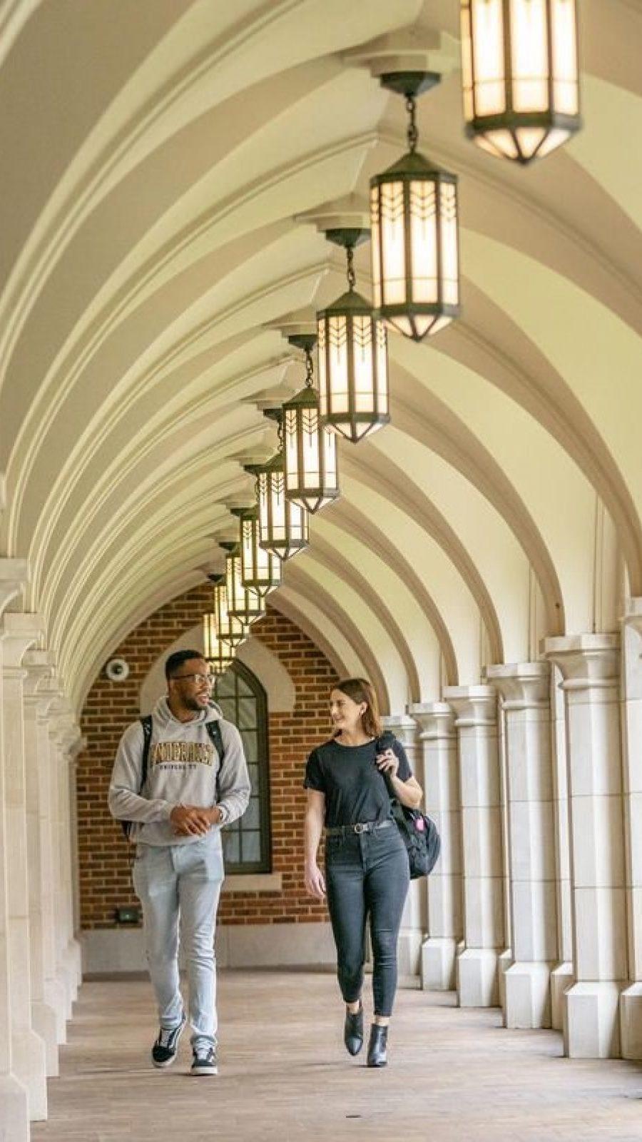 Students walking through campus.