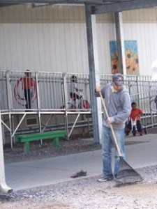 Clearing rocks in the school yard