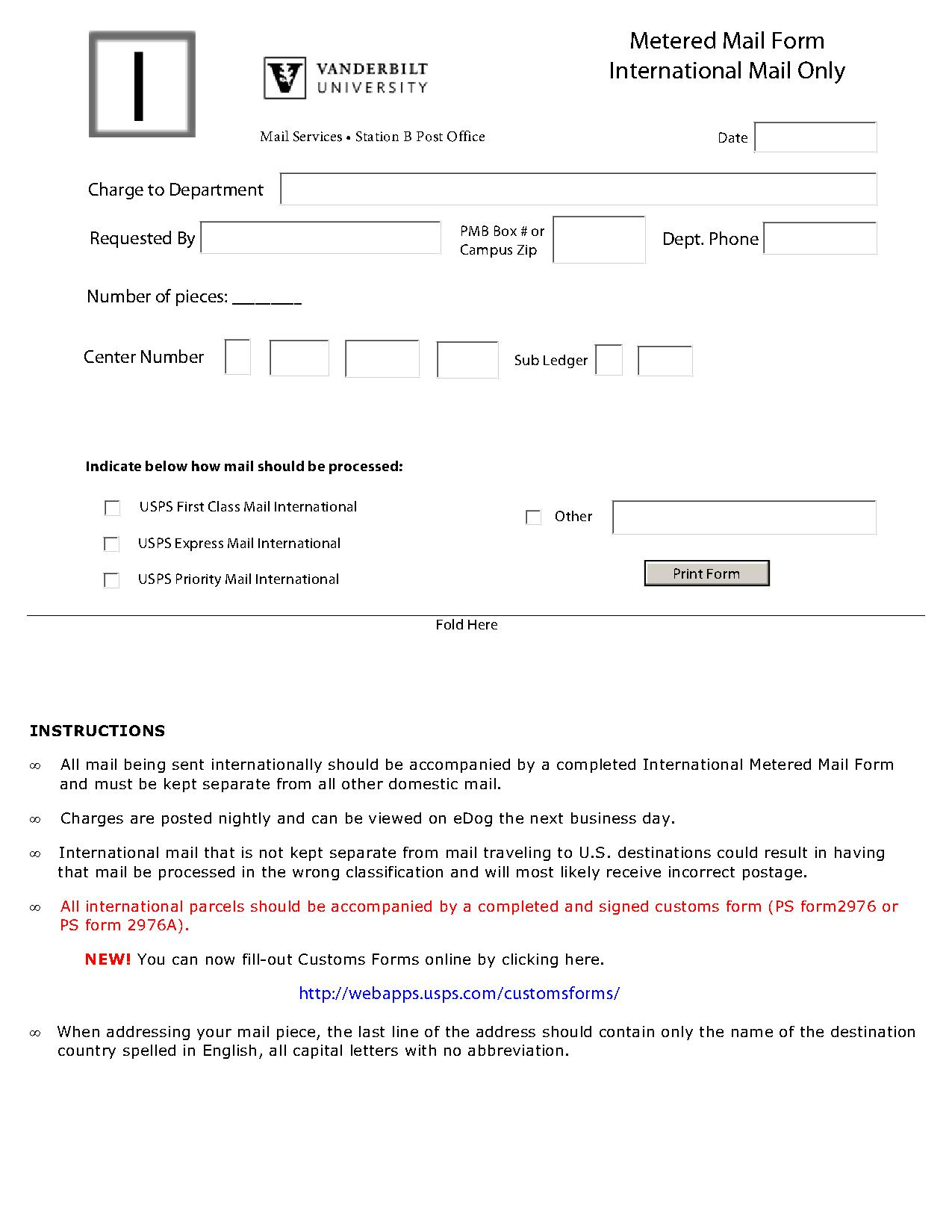 International Mail form