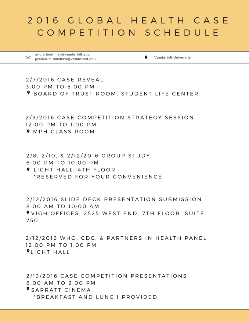 2016 Case Competition Schedule